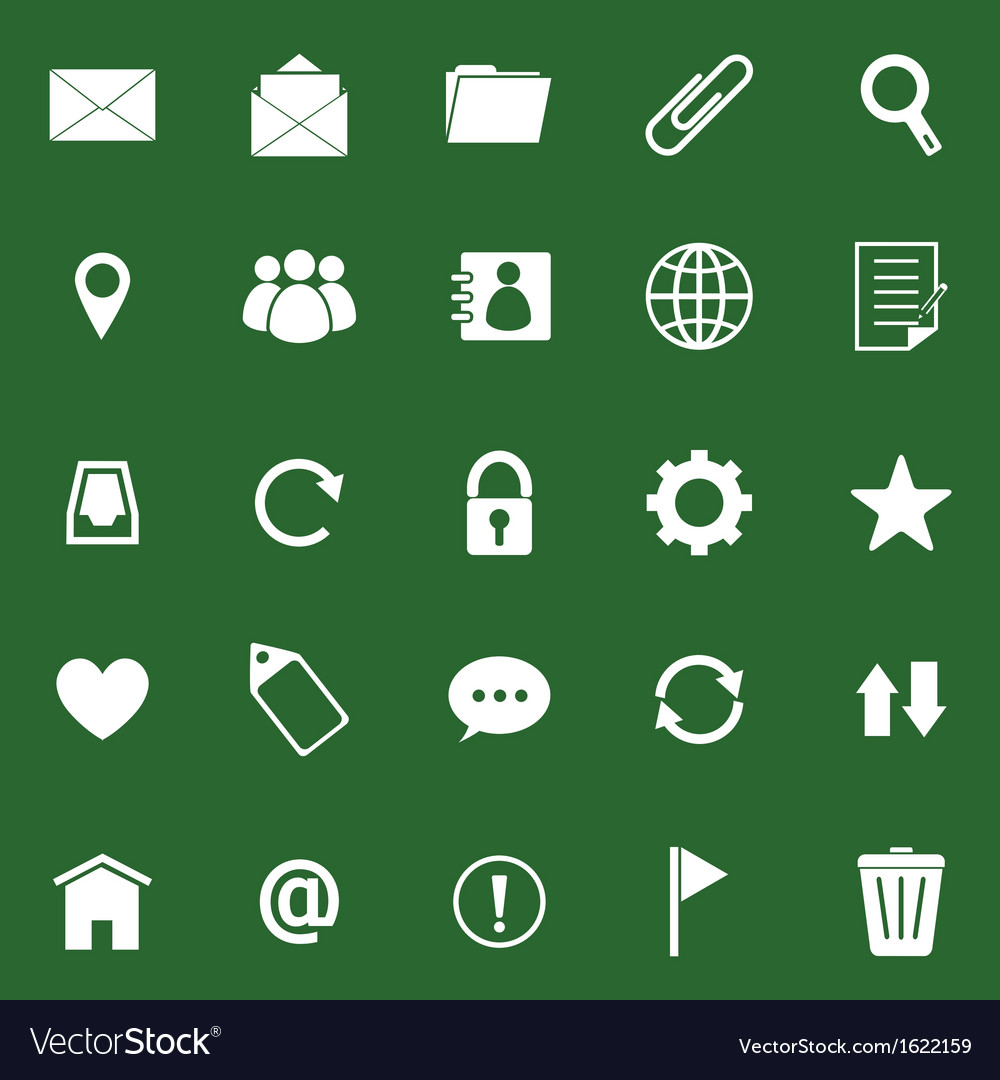 Mail icons on green background vector | Price: 1 Credit (USD $1)