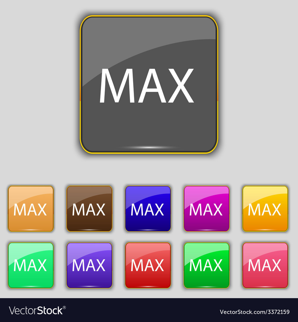 Maximum sign icon set of colored buttons vector   Price: 1 Credit (USD $1)