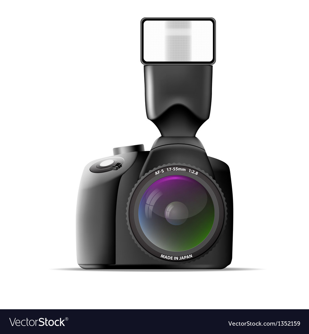 Realistic camera with external flash vector | Price: 1 Credit (USD $1)