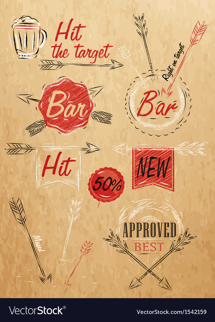 Set emblem of bar boom arrow kraft paper vector | Price: 1 Credit (USD $1)