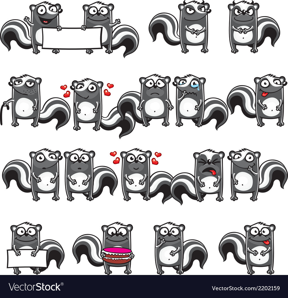Smiley skunks vector | Price: 1 Credit (USD $1)