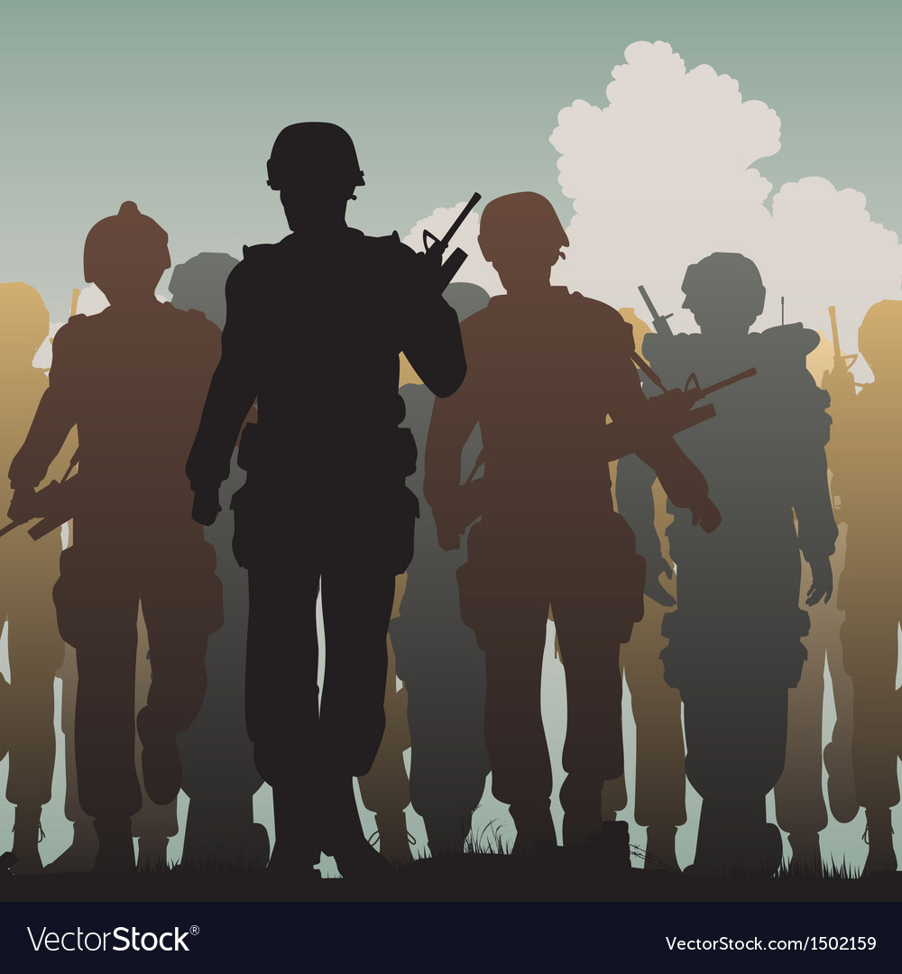 Troops walking vector | Price: 3 Credit (USD $3)