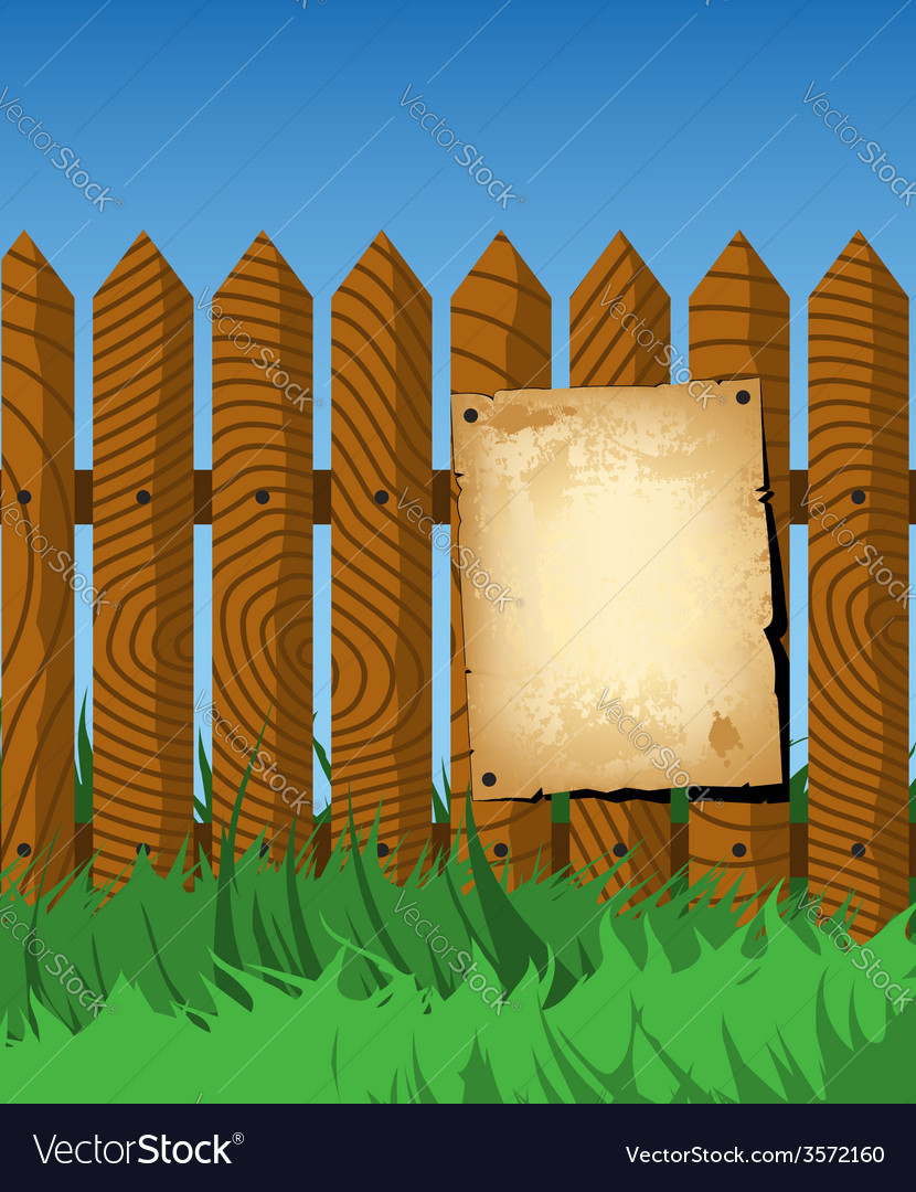Aged poster on the fence vector | Price: 1 Credit (USD $1)