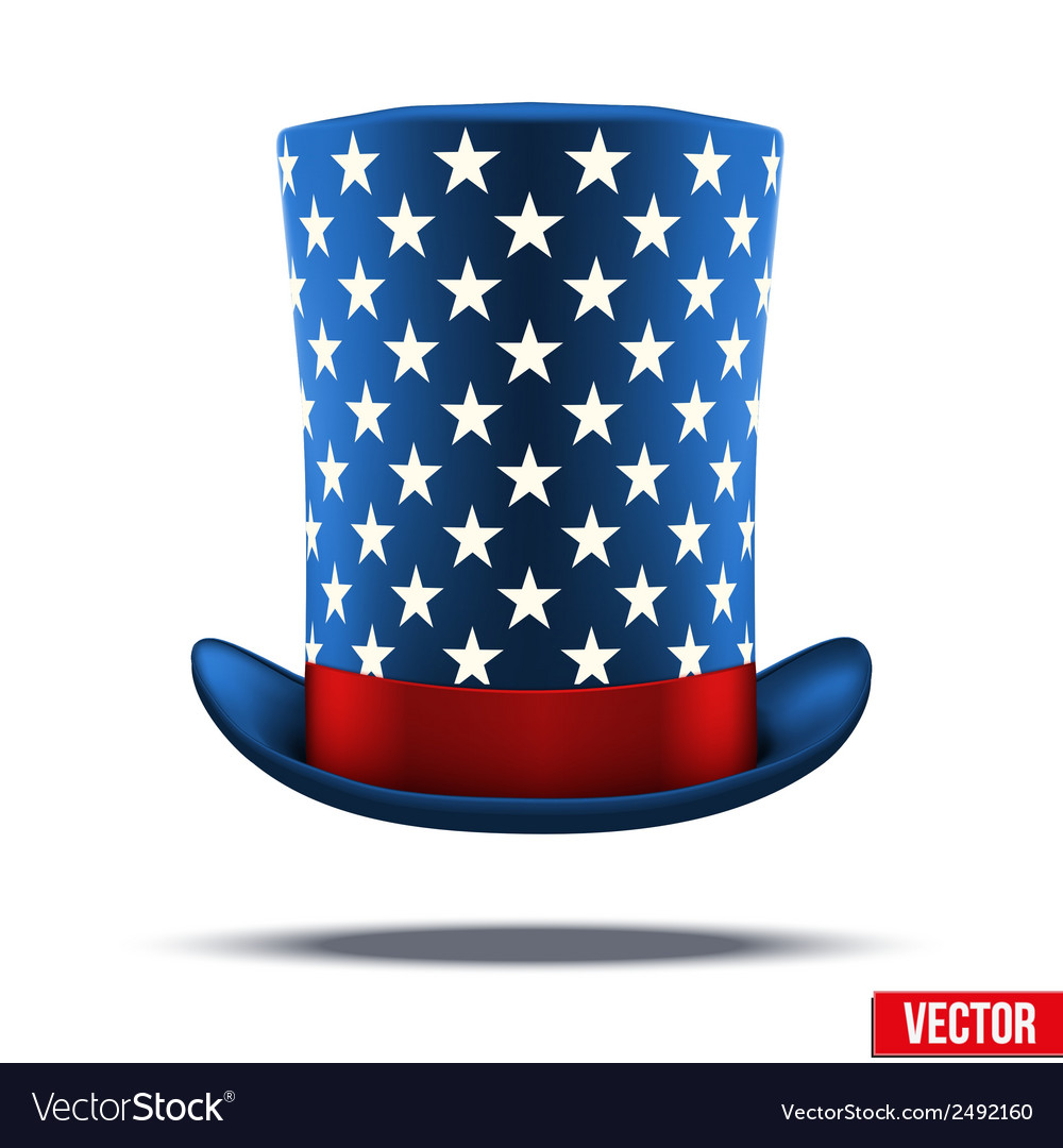 Blue big wizard hat cylinder with white stars vector | Price: 1 Credit (USD $1)