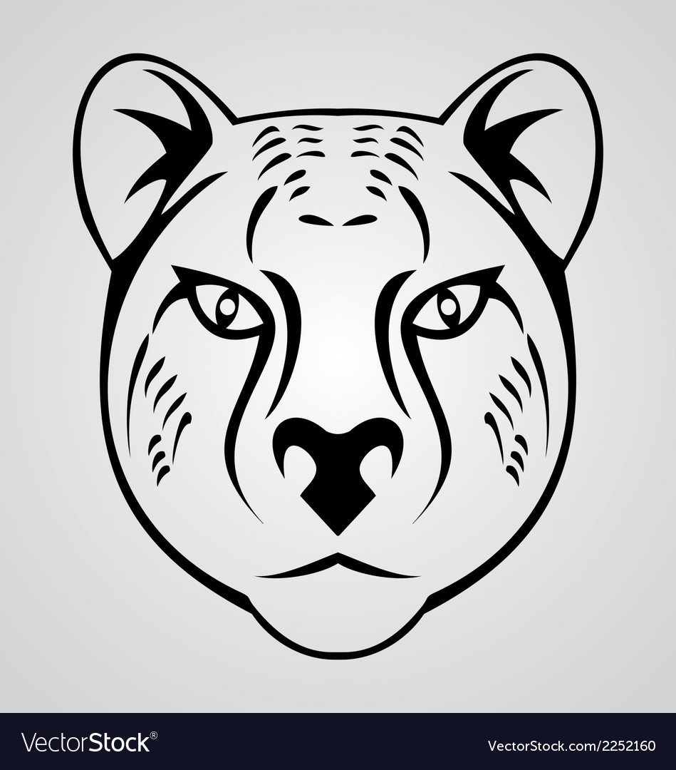 Cheetah head tribal vector | Price: 1 Credit (USD $1)