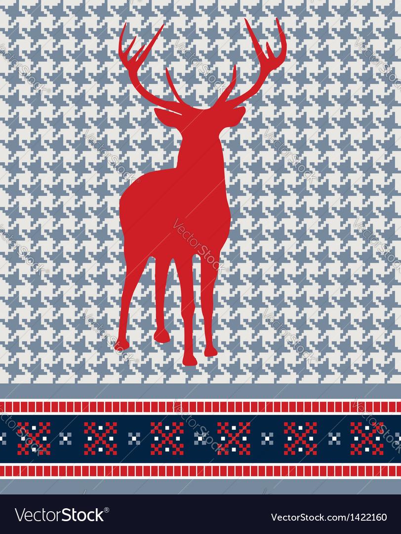 Christmas reindeer seamless pattern vector | Price: 1 Credit (USD $1)