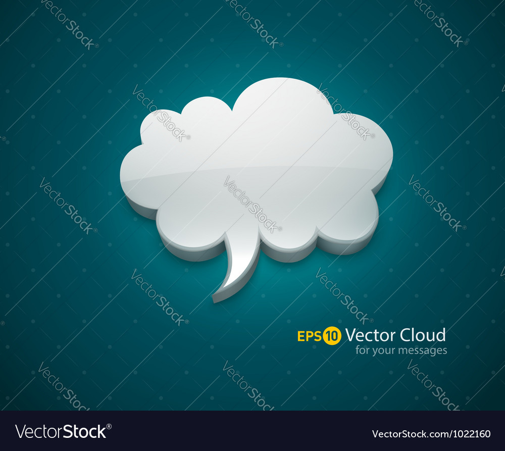 Cloud bubble icon for message vector | Price: 1 Credit (USD $1)