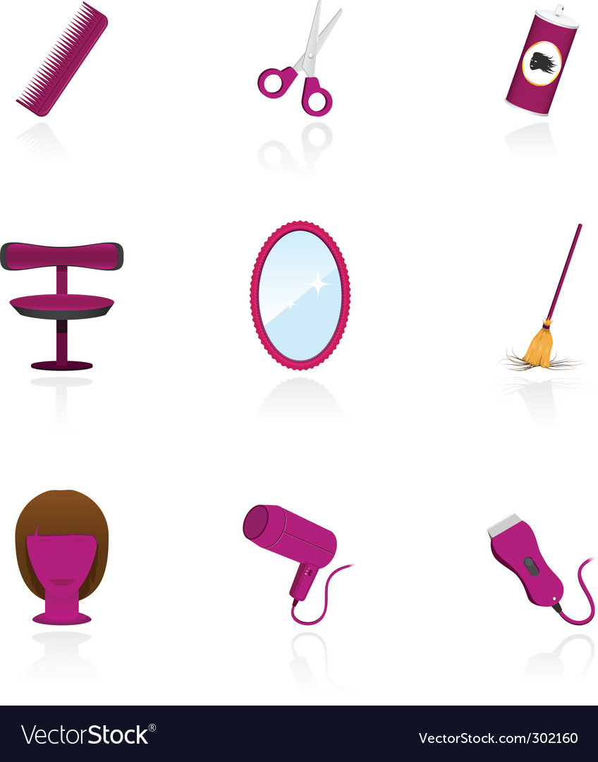 Hairdressing saloon icons vector | Price: 1 Credit (USD $1)