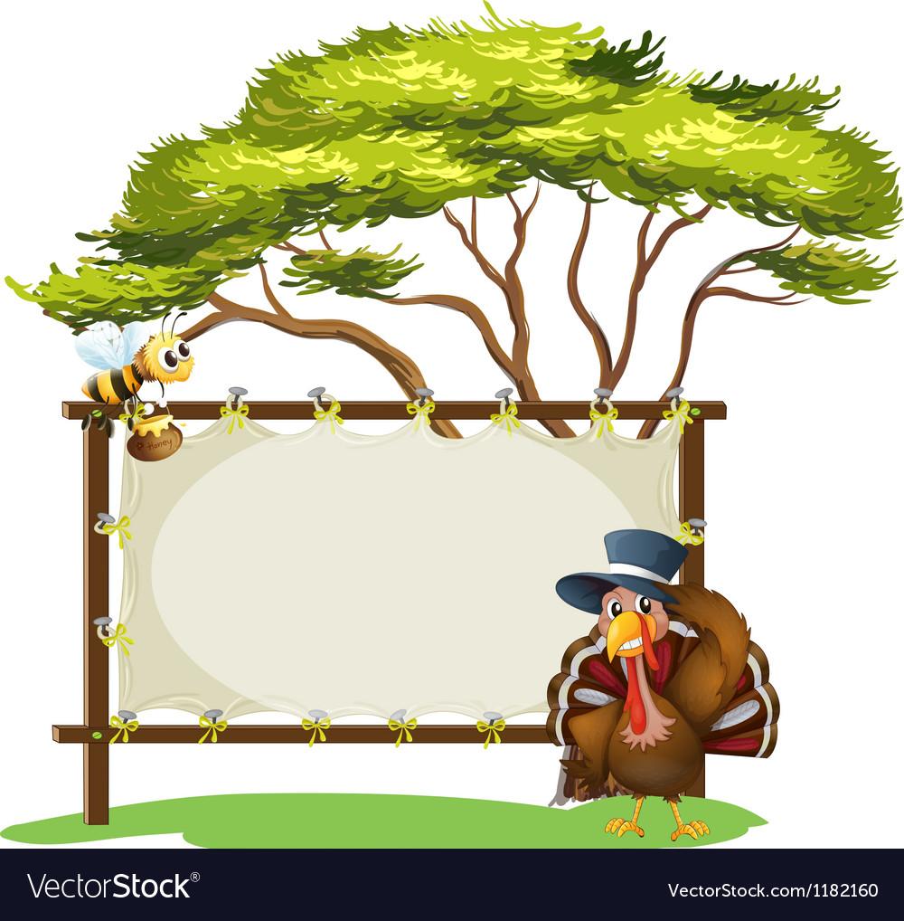 Honeybee turkey signboard vector | Price: 1 Credit (USD $1)