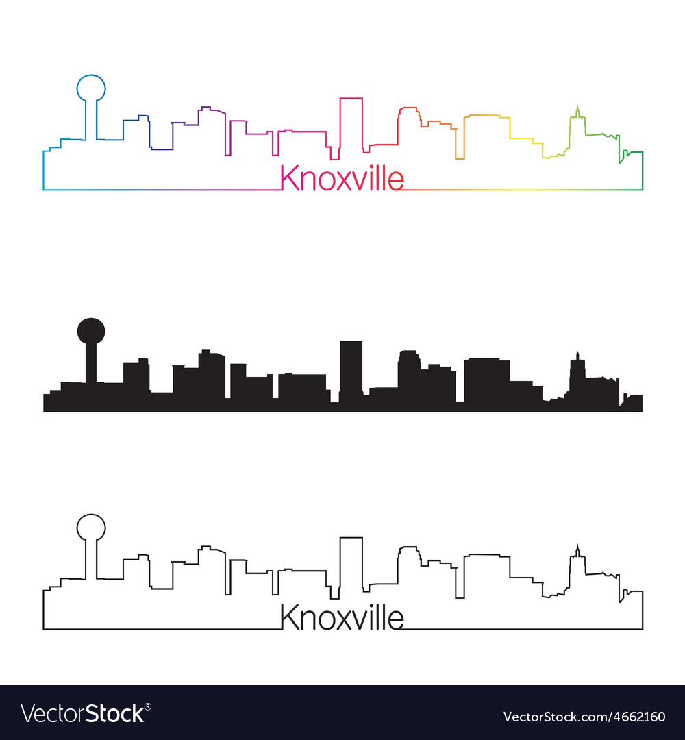 Knoxville skyline linear style with rainbow vector | Price: 1 Credit (USD $1)