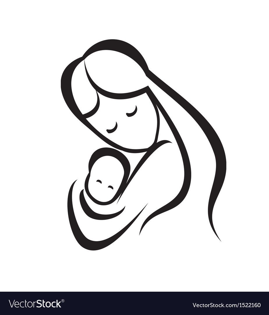 Mother and her baby symbol vector | Price: 1 Credit (USD $1)