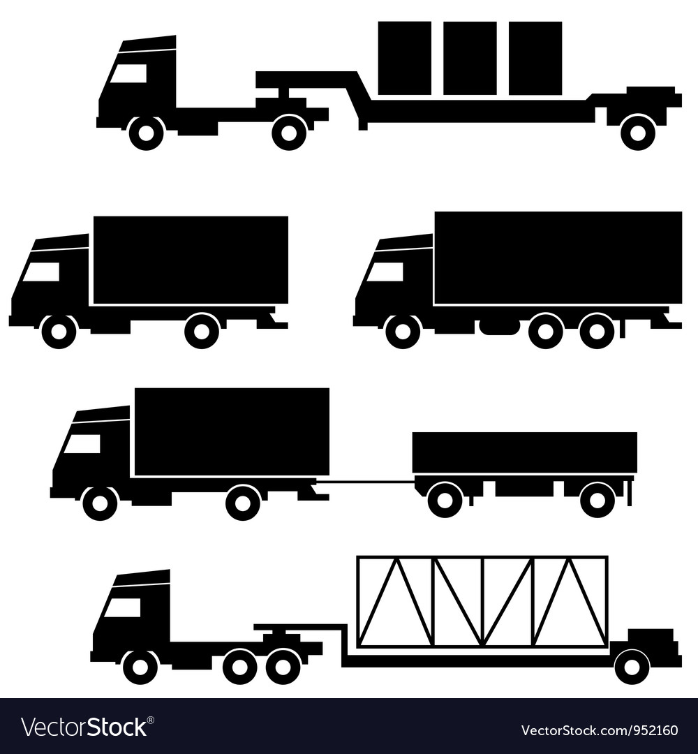 Set of icons - transportation symbols black on whi vector | Price: 1 Credit (USD $1)