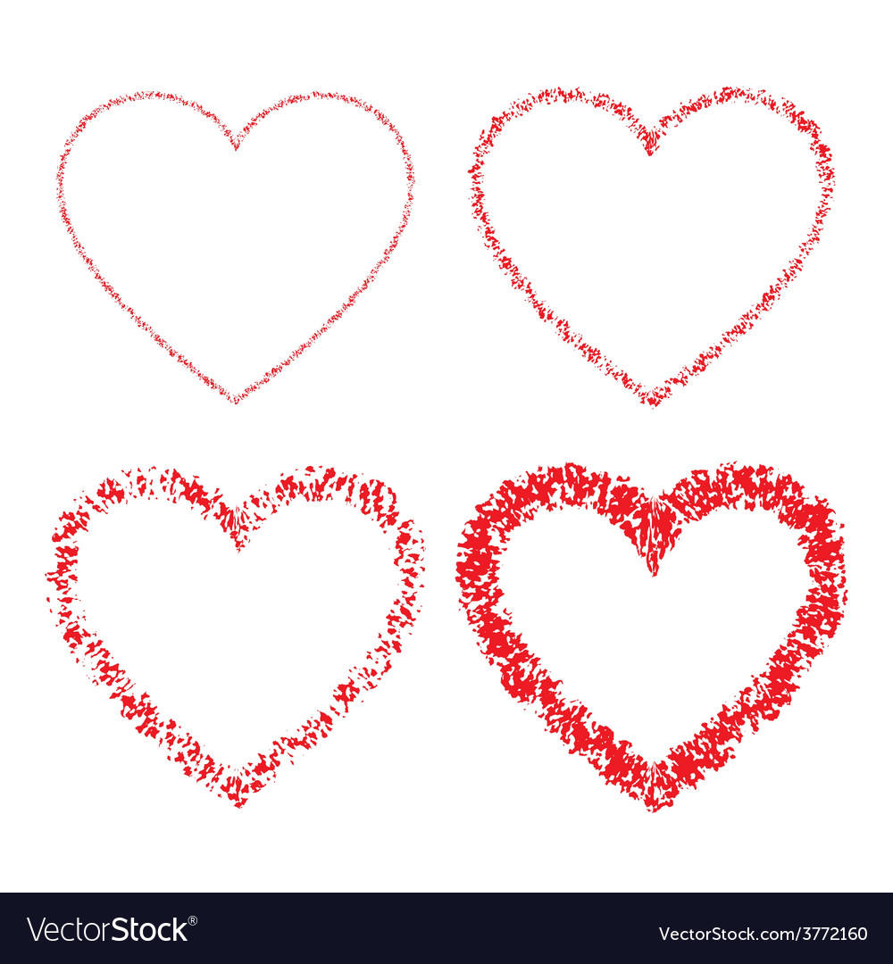 Set of red hand drawn linear grunge hearts vector   Price: 1 Credit (USD $1)