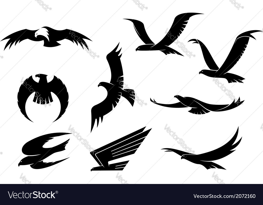 Silhouette set of flying birds vector | Price: 1 Credit (USD $1)