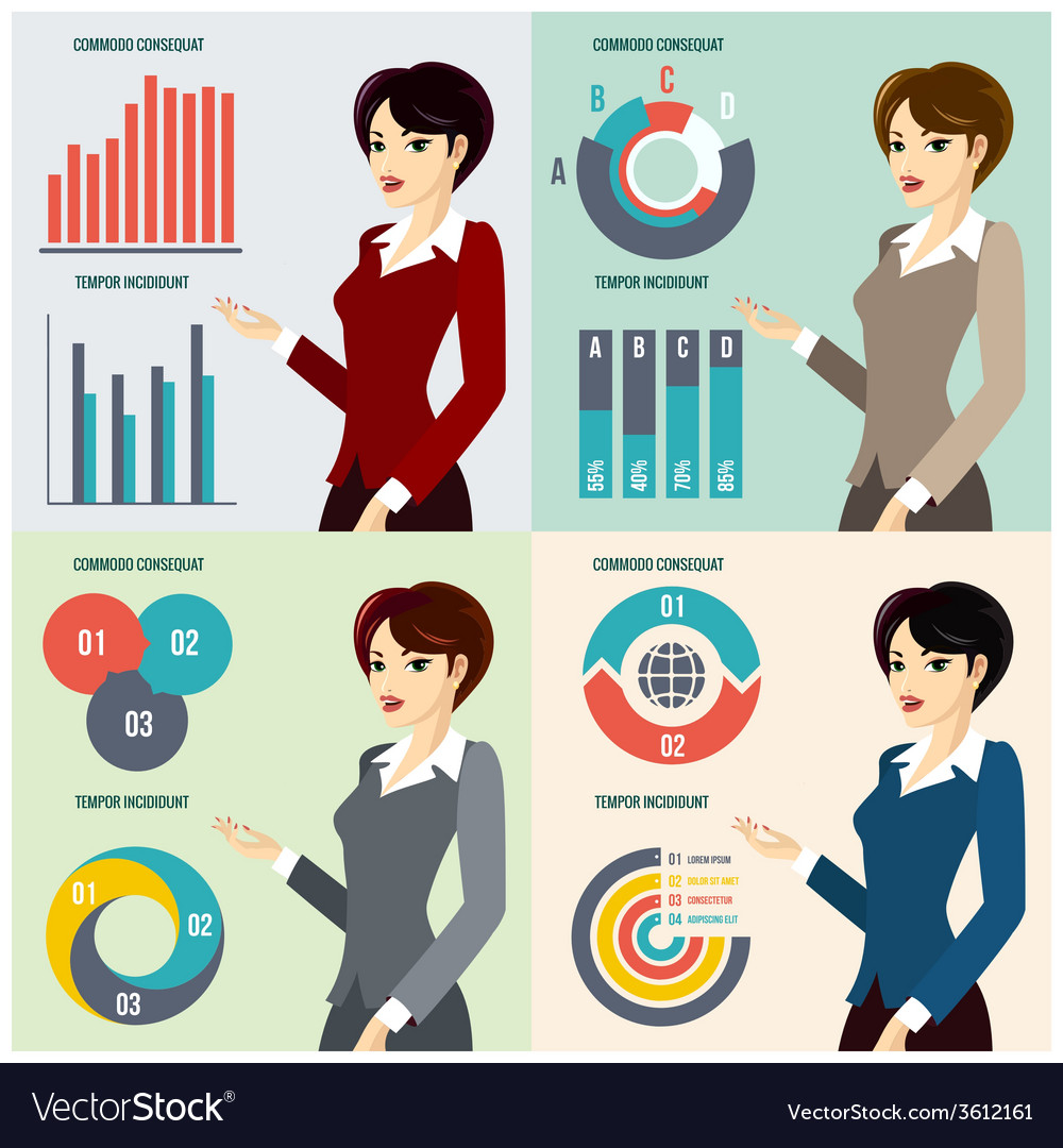 Business woman presenting proposal vector | Price: 1 Credit (USD $1)