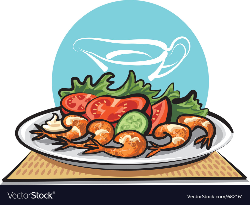 Fried shrimps and vegetables vector | Price: 3 Credit (USD $3)