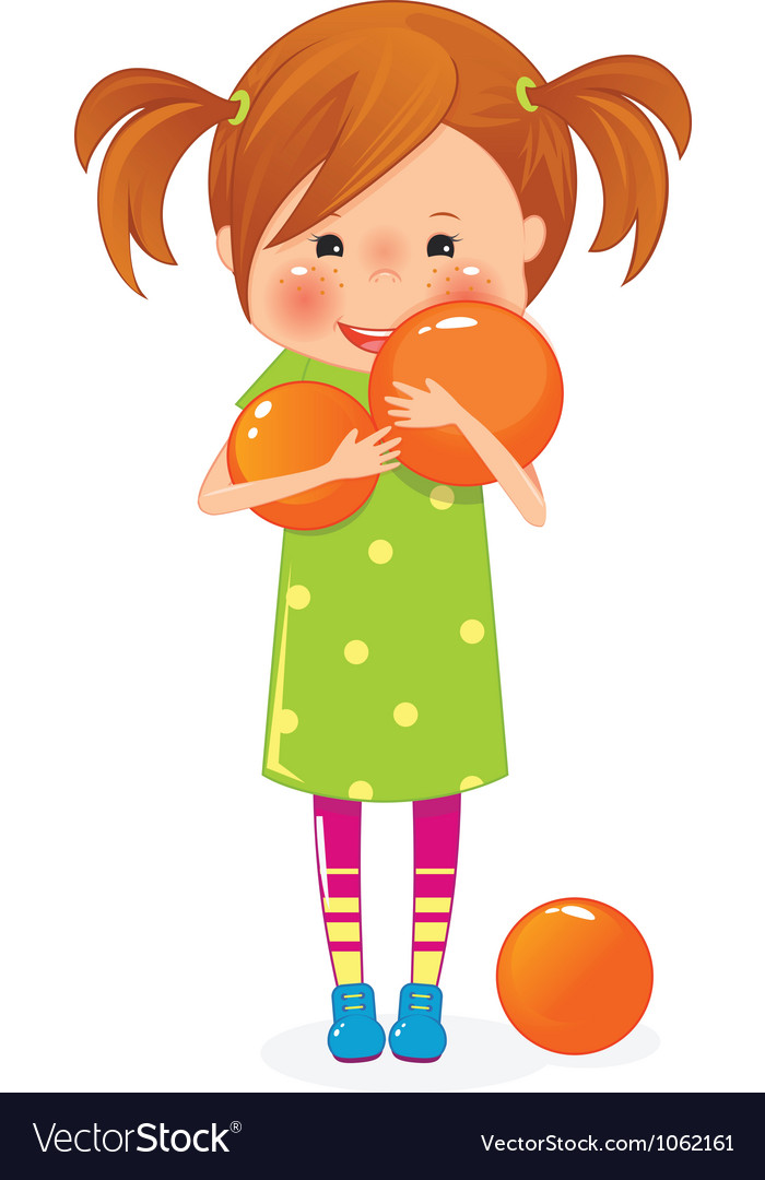 Girl with ball vector | Price: 3 Credit (USD $3)