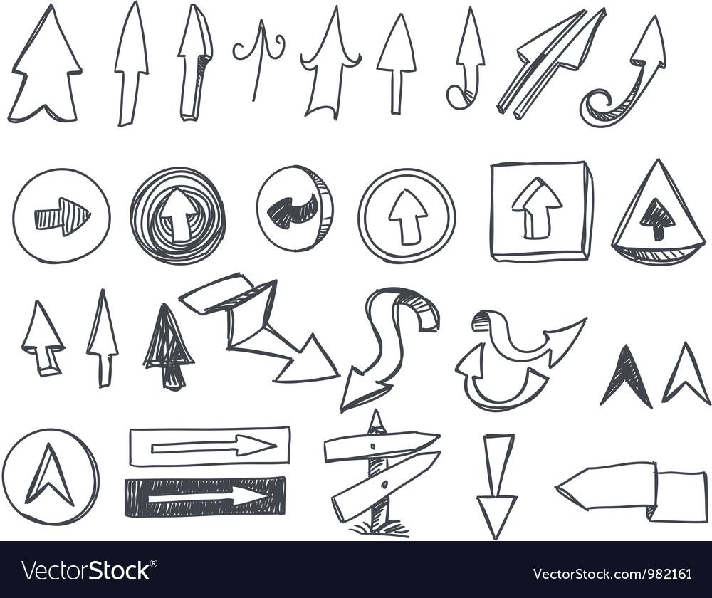 Hand-drawn arrows set vector | Price: 1 Credit (USD $1)