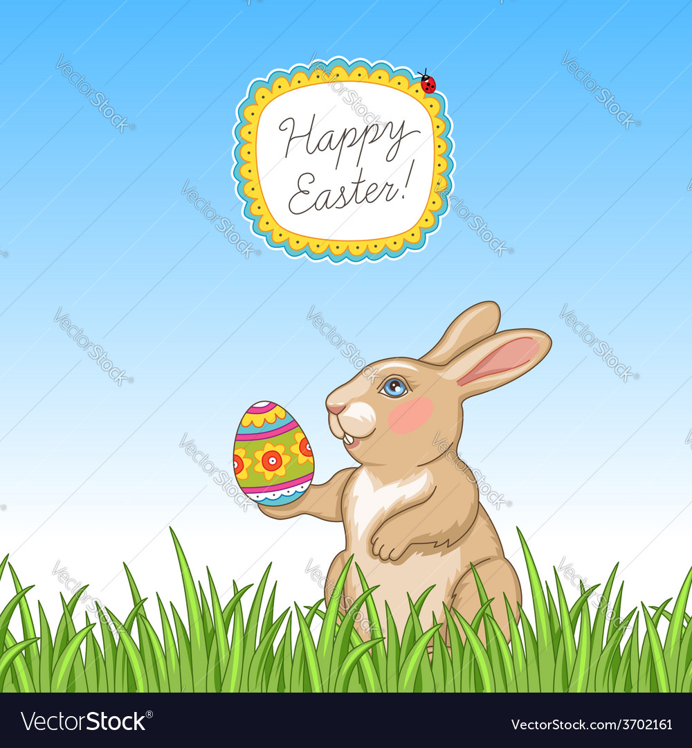 Happy easter card grass vector | Price: 1 Credit (USD $1)