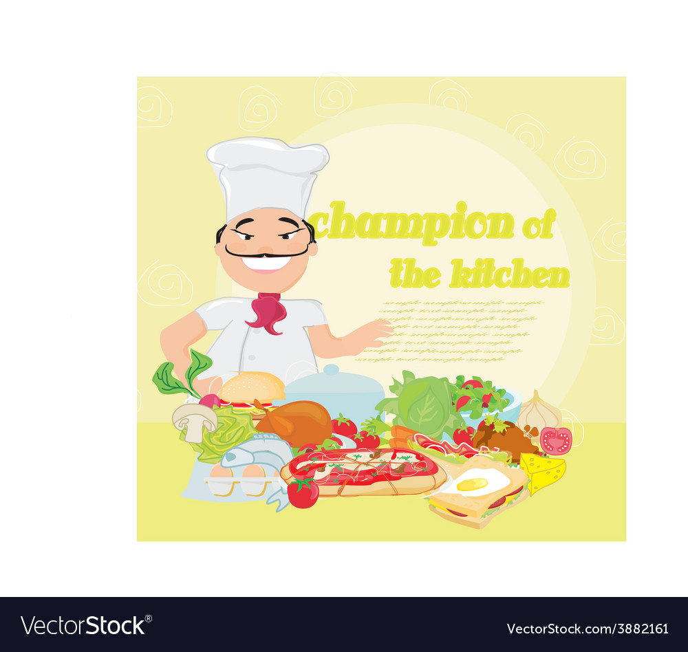 Smiling chef and various dishes vector | Price: 1 Credit (USD $1)