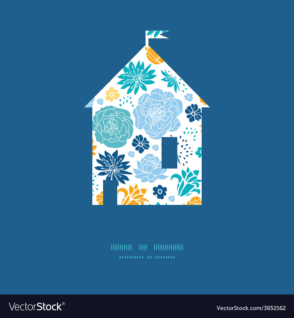 Blue and yellow flowersilhouettes house silhouette vector | Price: 1 Credit (USD $1)