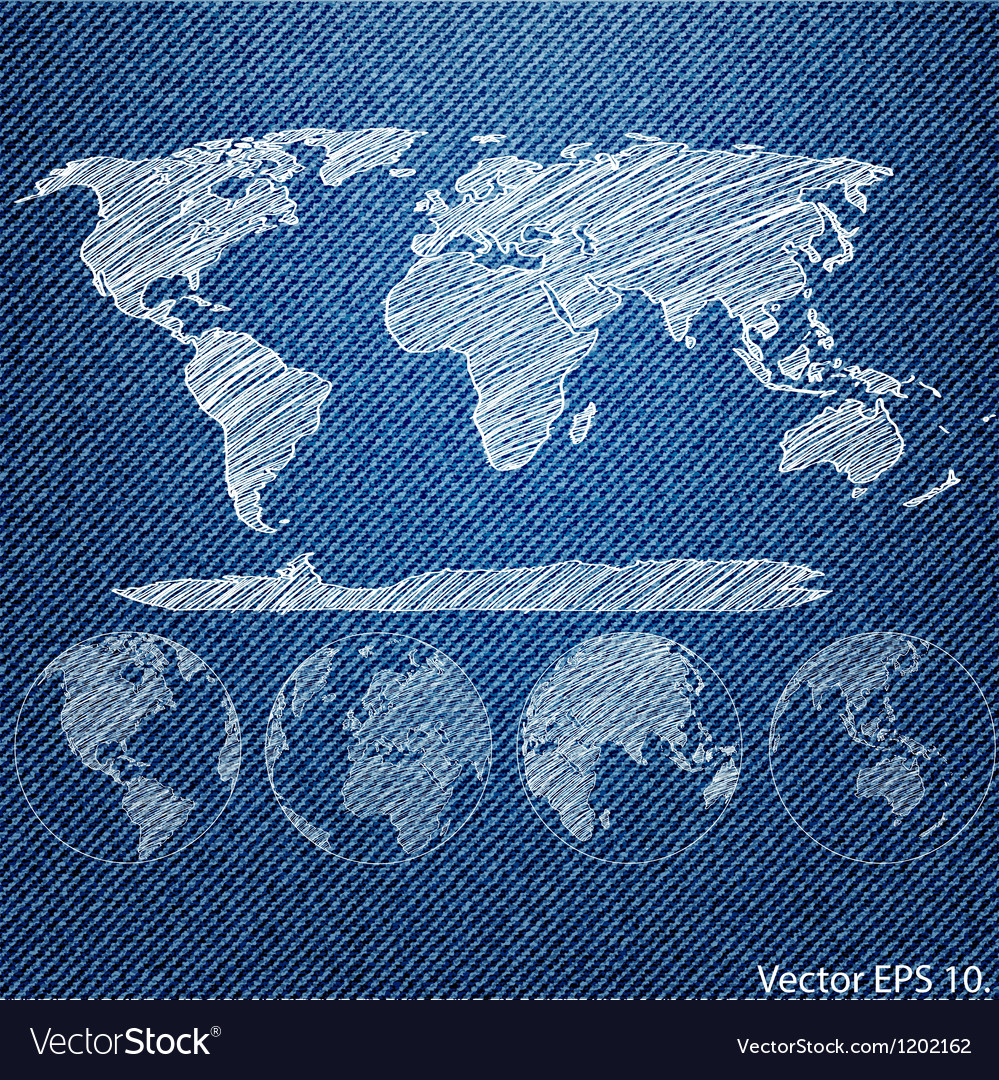 Blue denim texture with globe vector | Price: 1 Credit (USD $1)