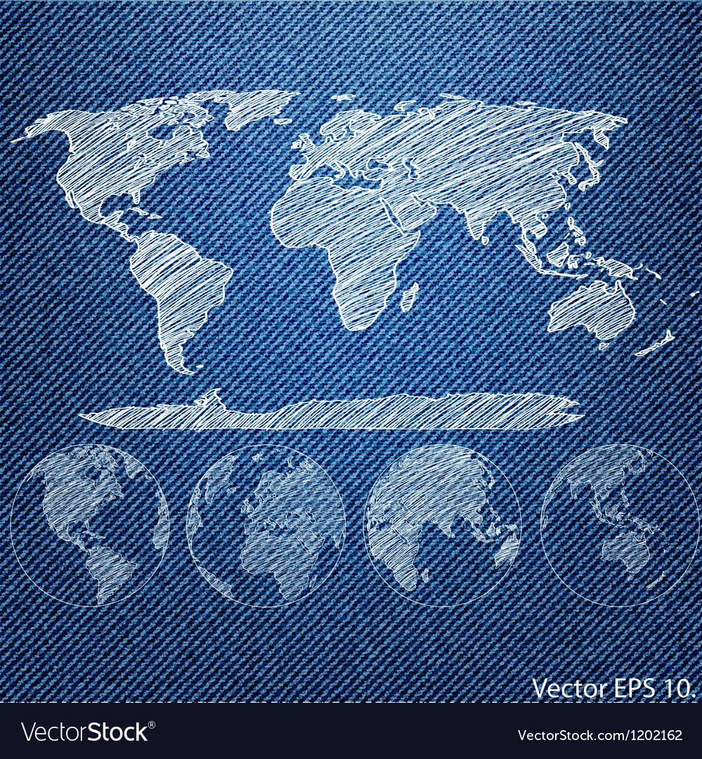 Blue denim texture with globe vector | Price: 1 Credit (USD $1)