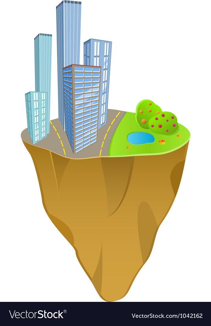 Buildings and nature concept on mini slice planet vector | Price: 1 Credit (USD $1)