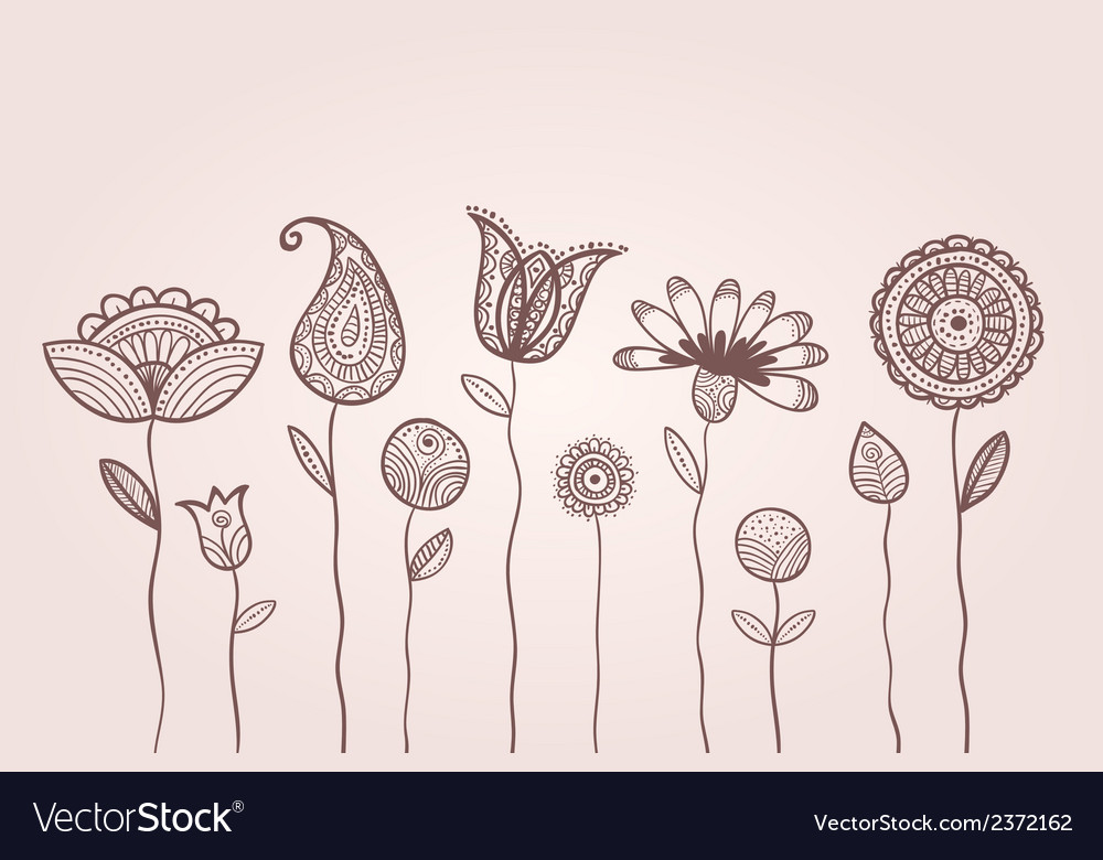 Dotted doodle flowers vector | Price: 1 Credit (USD $1)