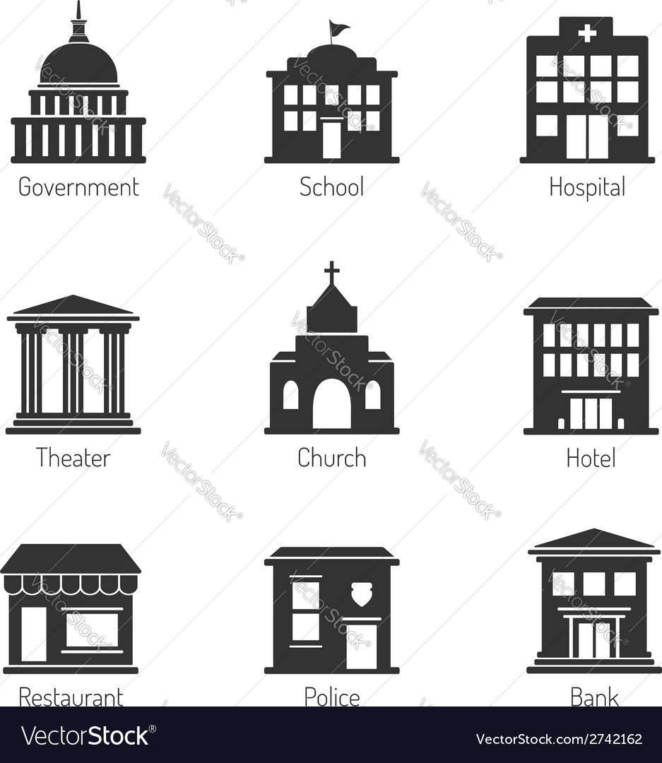 Government building icons vector | Price: 1 Credit (USD $1)