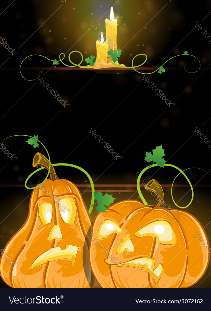Jack o lanterns and burning candles vector | Price: 3 Credit (USD $3)