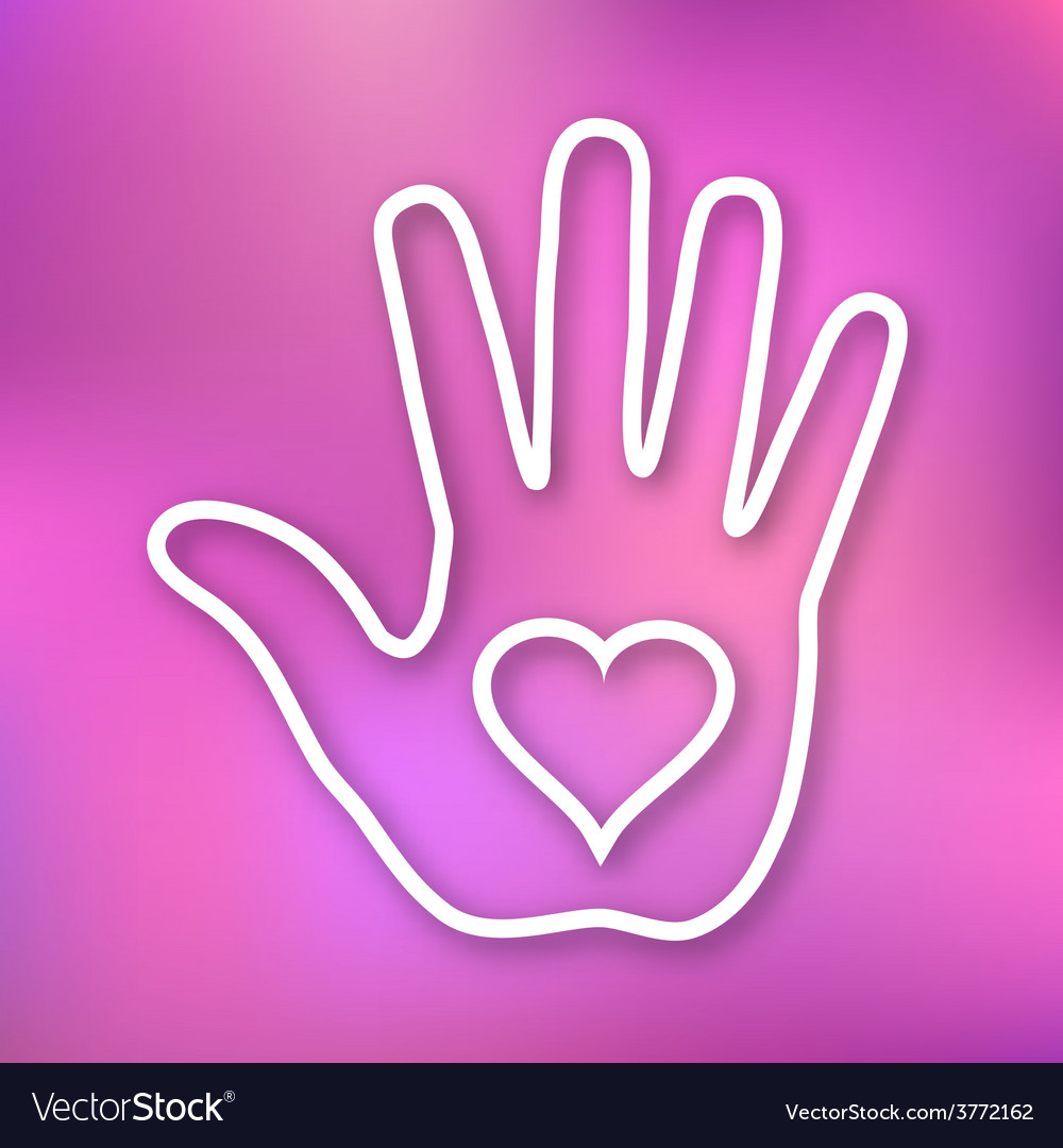 Linear of hand print with heart icon vector | Price: 1 Credit (USD $1)