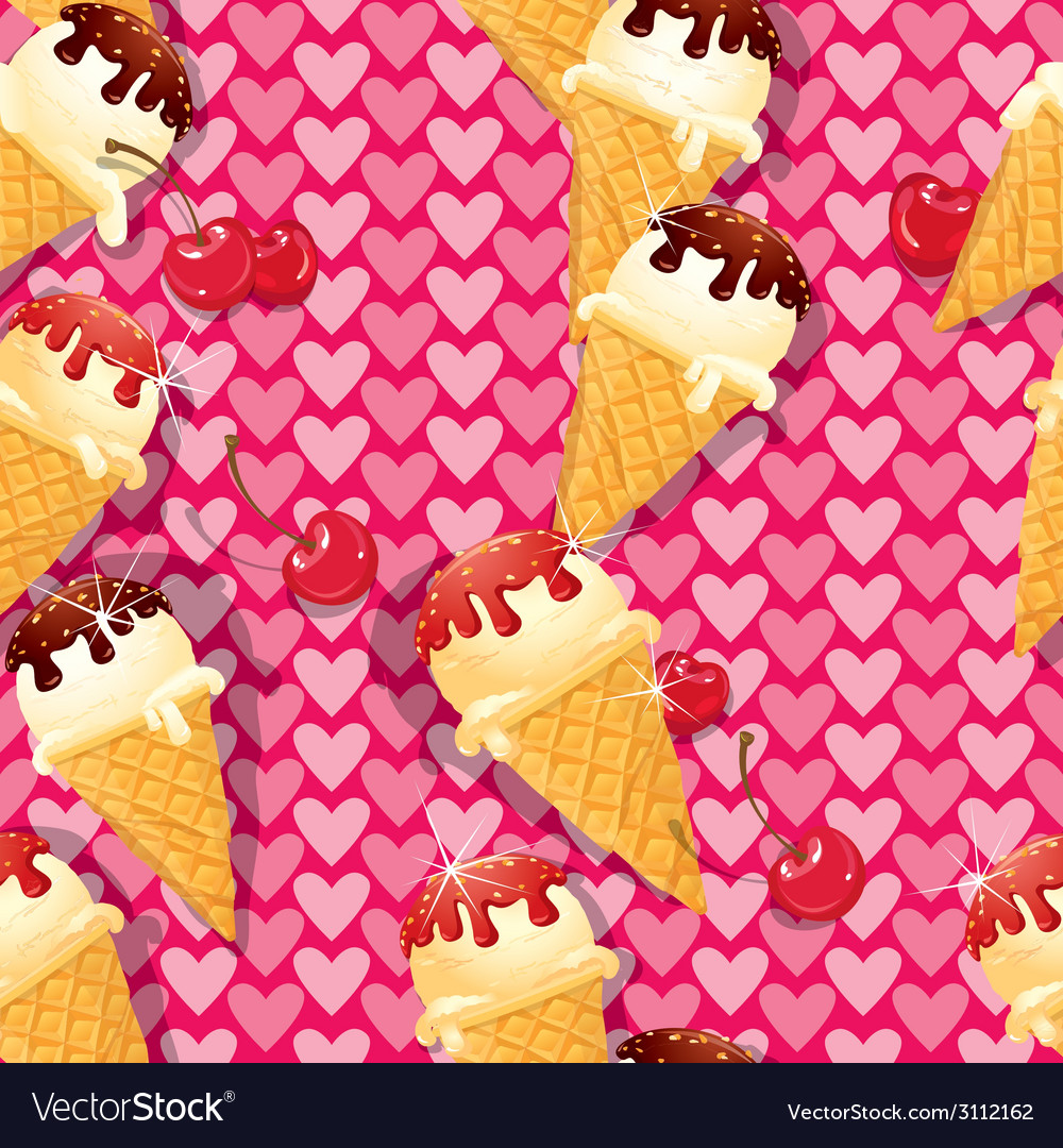 Seamless pattern with vanilla ice cream cones with vector | Price: 1 Credit (USD $1)