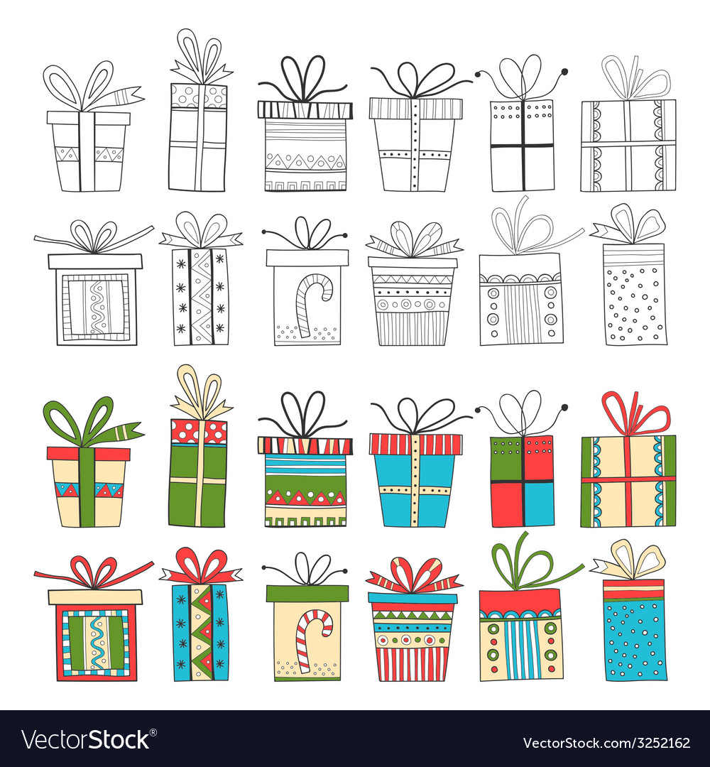 Set of gift packages christmas gifts vector | Price: 1 Credit (USD $1)