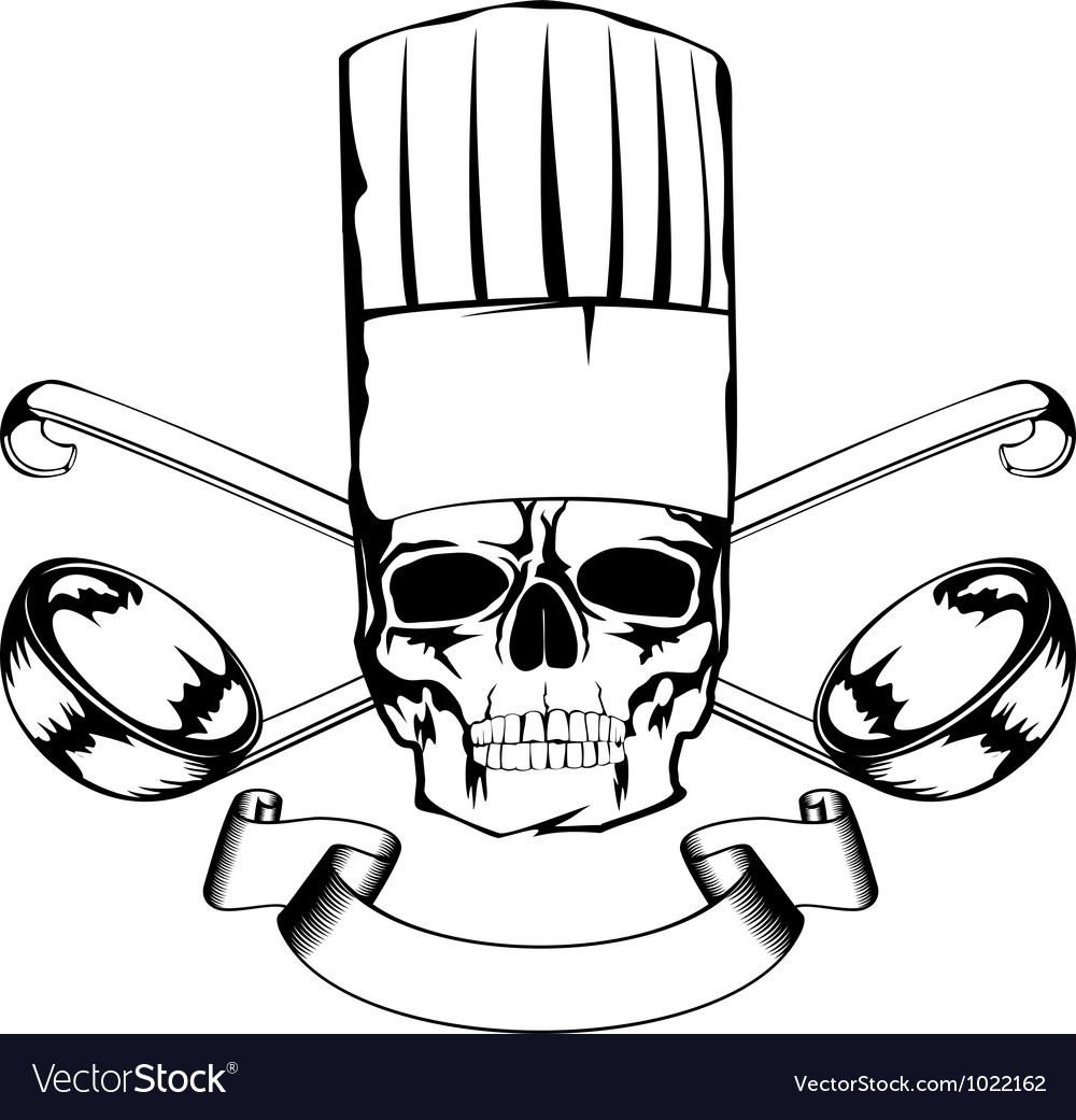 Skull in toque and crossed ladles vector   Price: 1 Credit (USD $1)