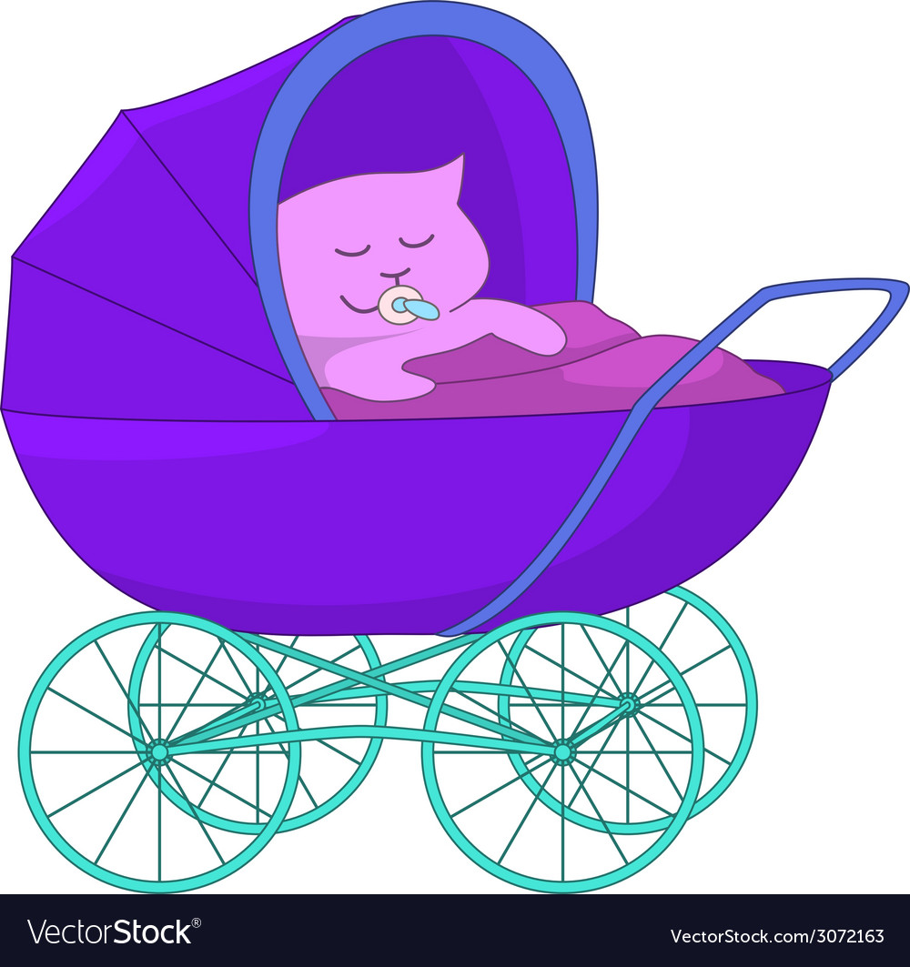 Baby cartoon in the baby carriage vector | Price: 1 Credit (USD $1)