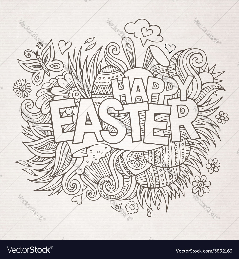 Easter hand lettering and doodles elements vector   Price: 1 Credit (USD $1)