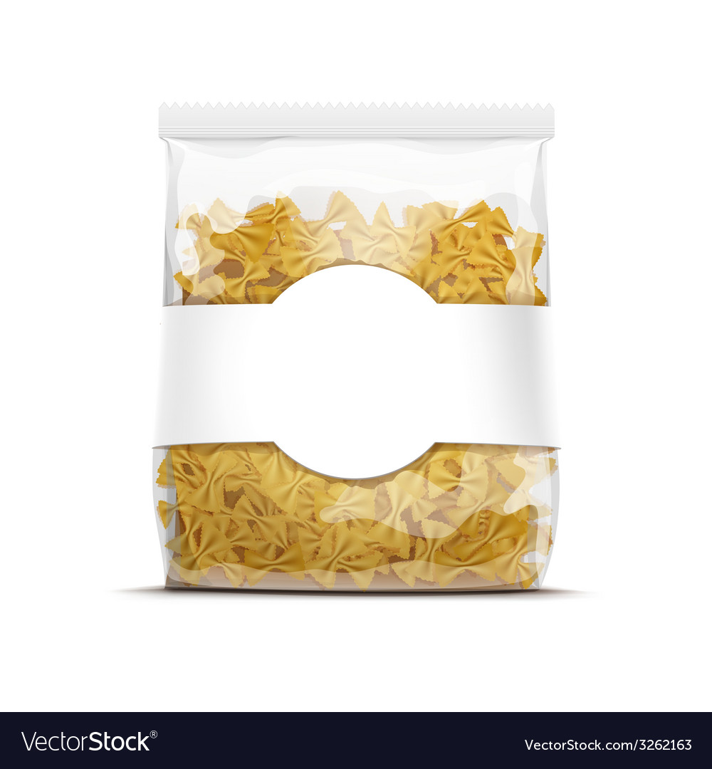Farfalle bow tie pasta packaging template isolated vector | Price: 1 Credit (USD $1)