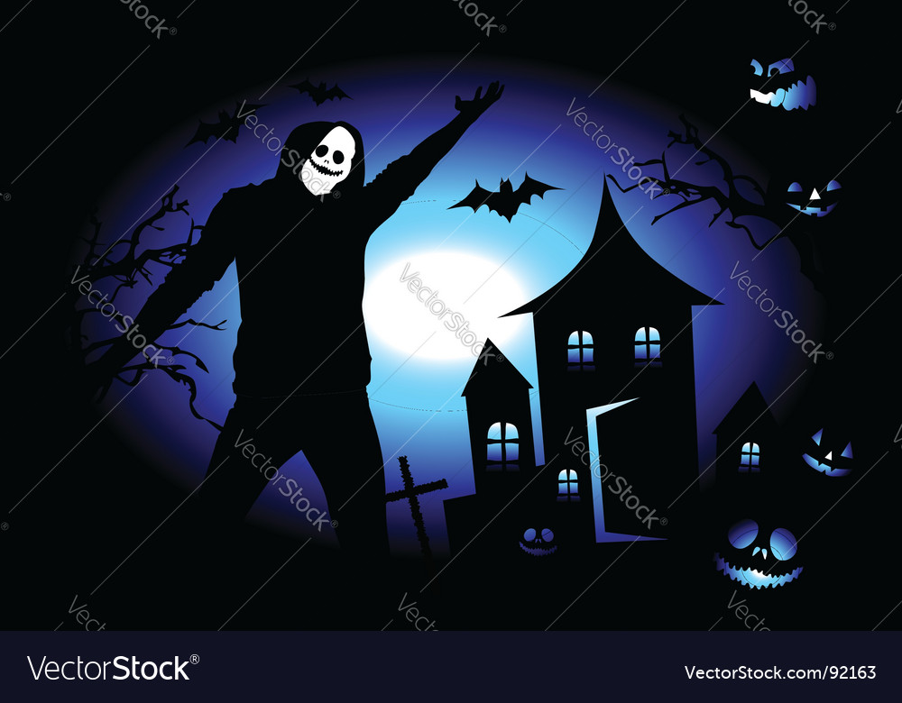 Halloween house on hill vector   Price: 1 Credit (USD $1)
