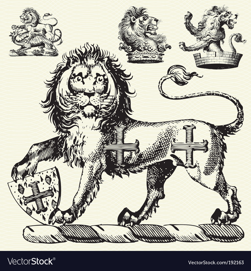 Medieval lions vector | Price: 1 Credit (USD $1)