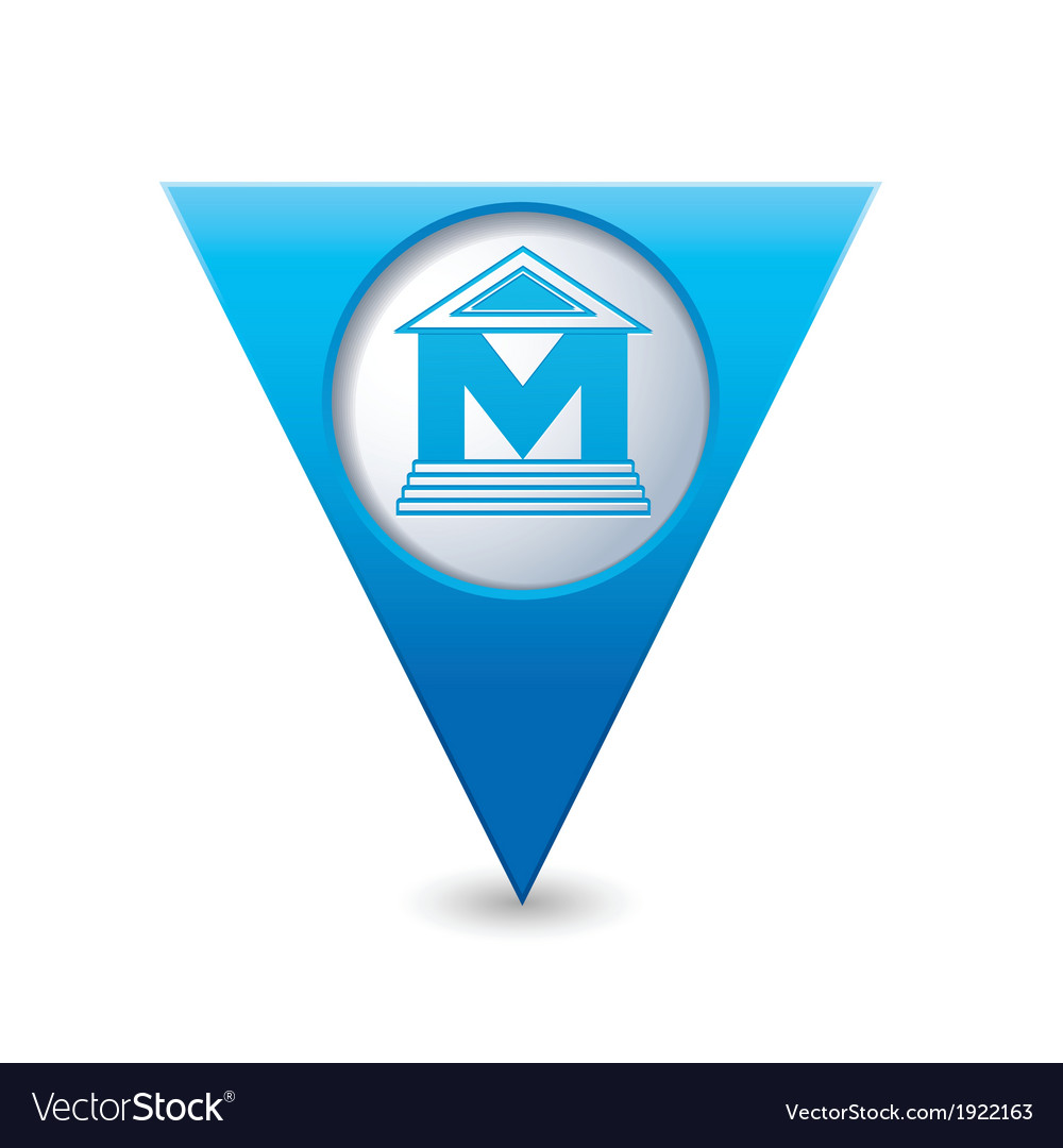 Museum icon pointer blue vector | Price: 1 Credit (USD $1)