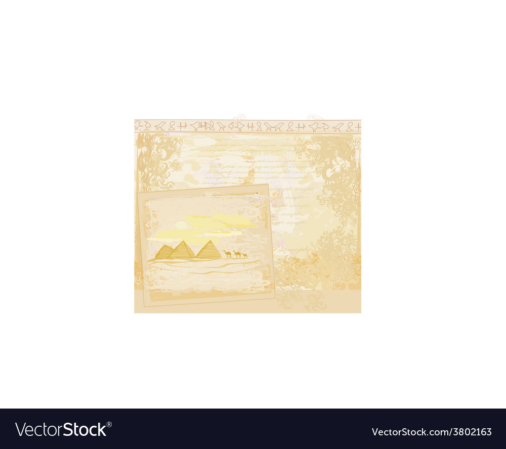 Old paper with pyramids giza vector | Price: 1 Credit (USD $1)