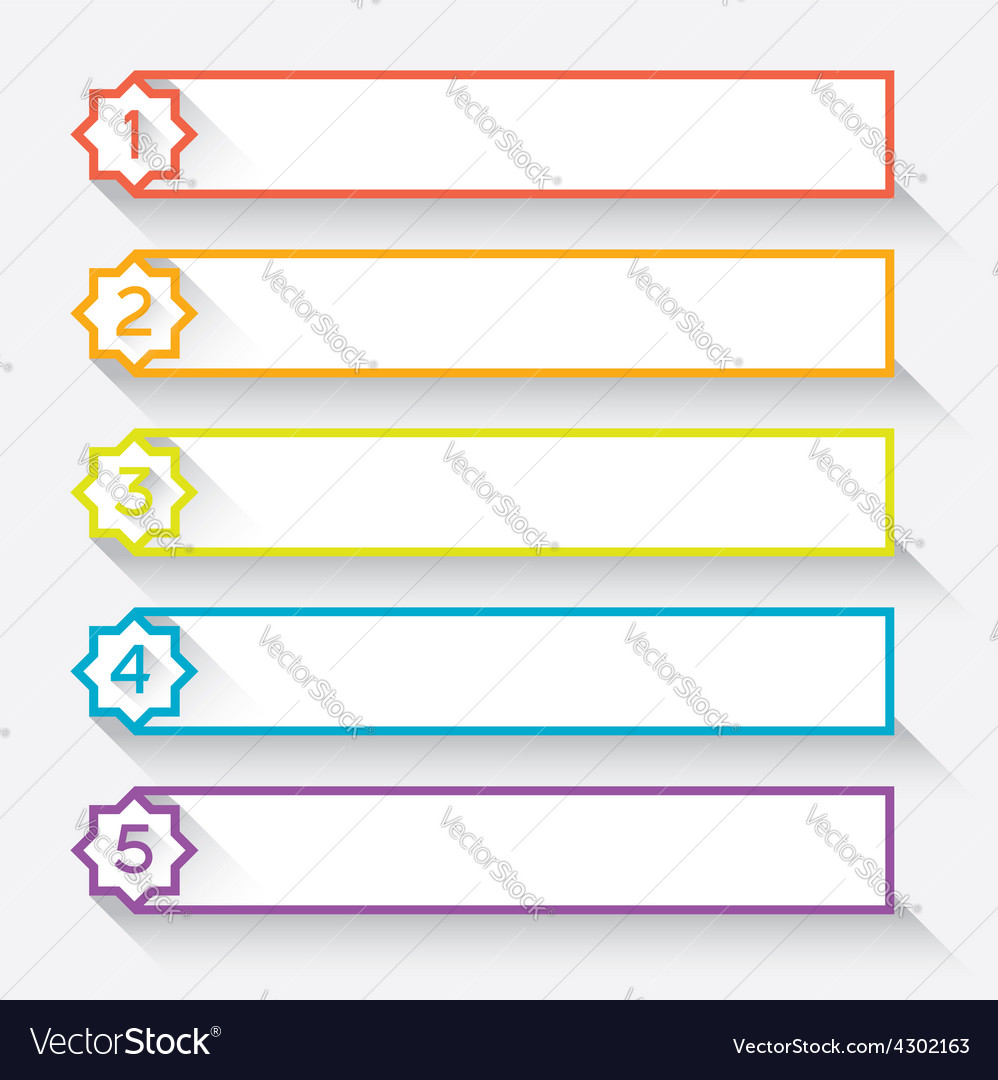 Set of numbered paper style headers with star vector   Price: 1 Credit (USD $1)