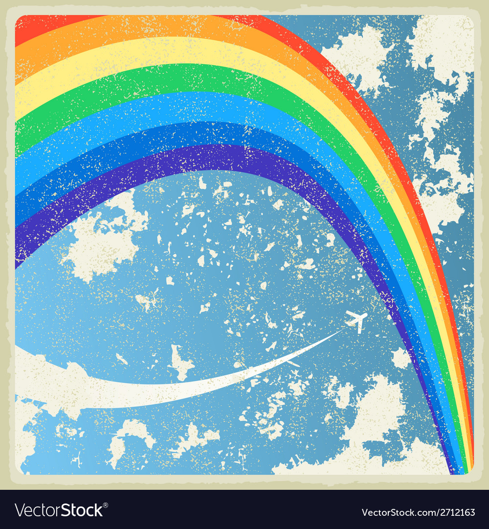 Vintage background with plane and rainbow vector | Price: 1 Credit (USD $1)