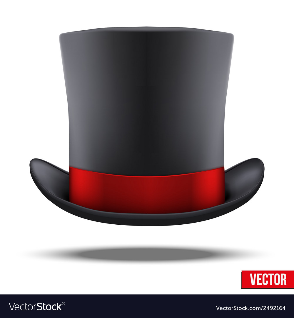 Black gentleman hat cylinder with red ribbon vector | Price: 1 Credit (USD $1)