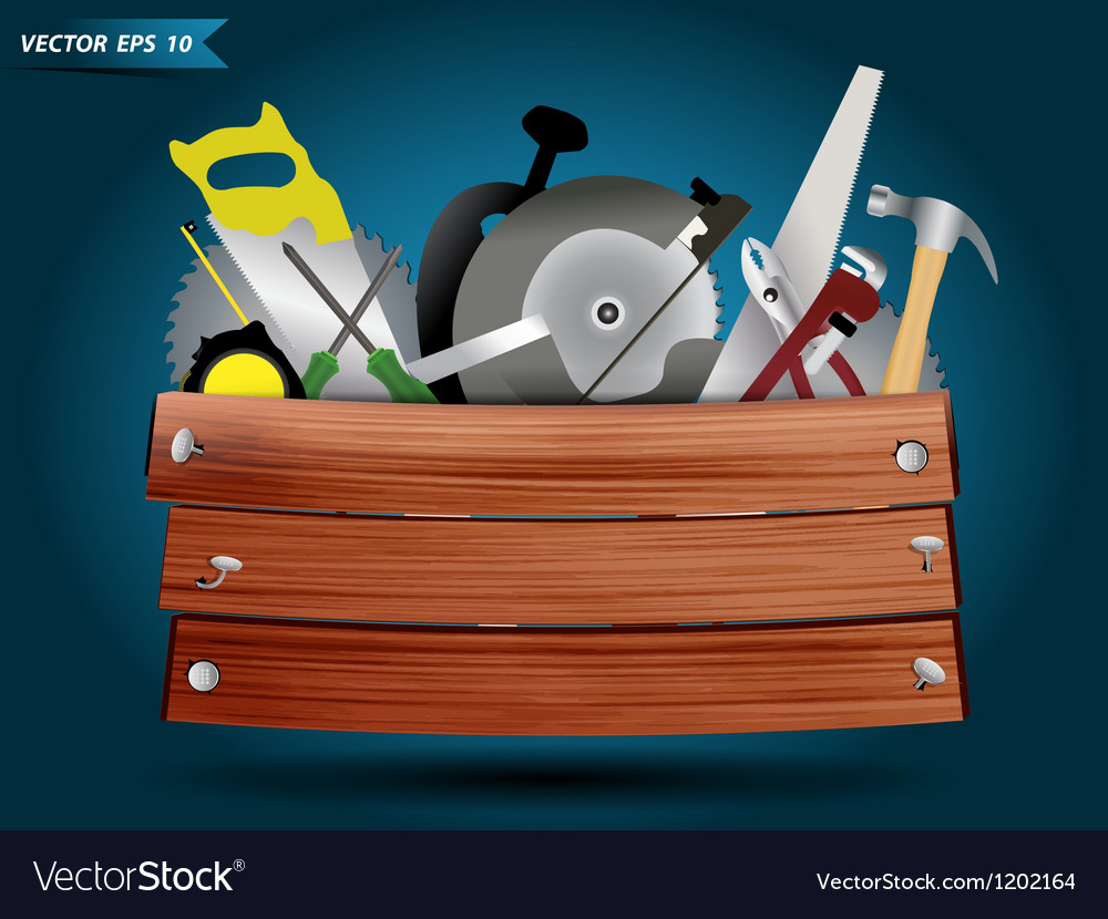 Carpentry tools with wood plank vector | Price: 3 Credit (USD $3)