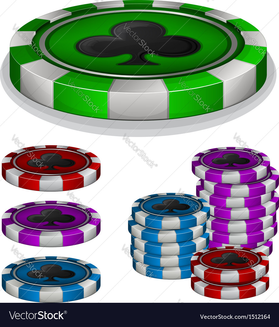 Casino chips with clubs sign vector | Price: 1 Credit (USD $1)