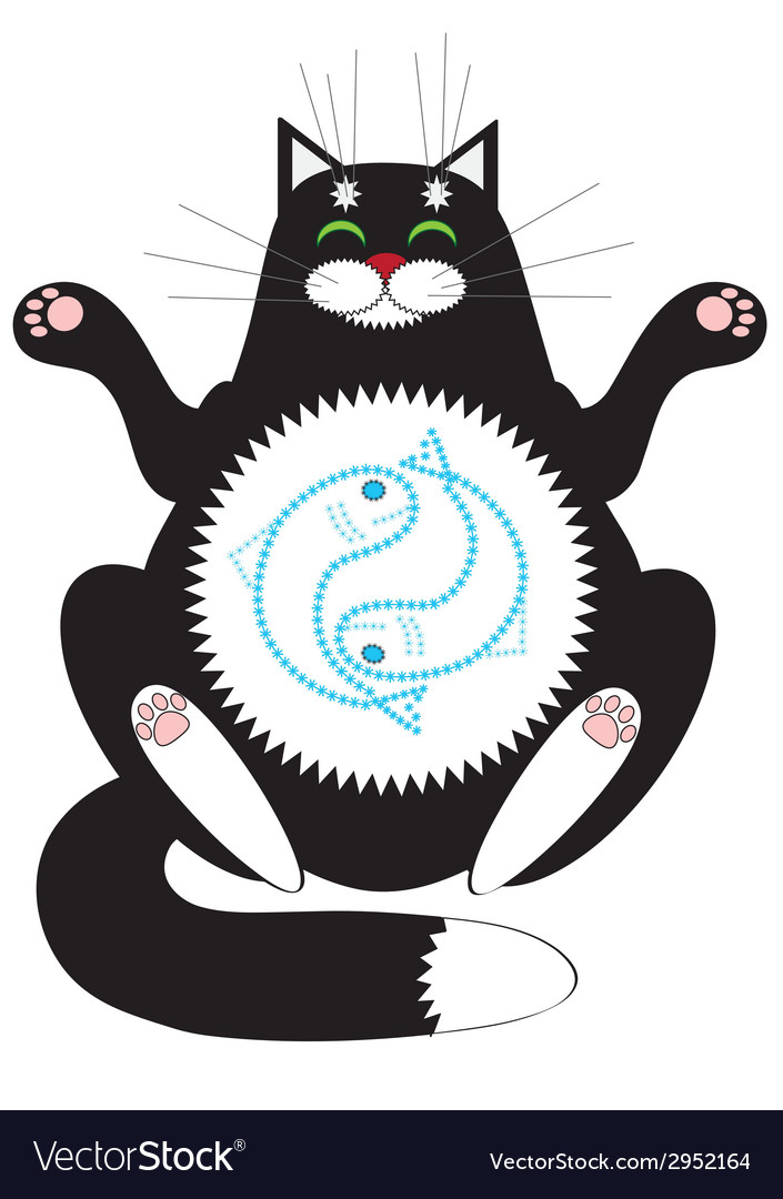 Cat meditating vector | Price: 1 Credit (USD $1)
