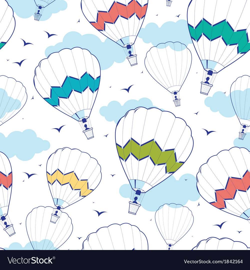 Colorful ot air balloons seamless pattern vector | Price: 1 Credit (USD $1)