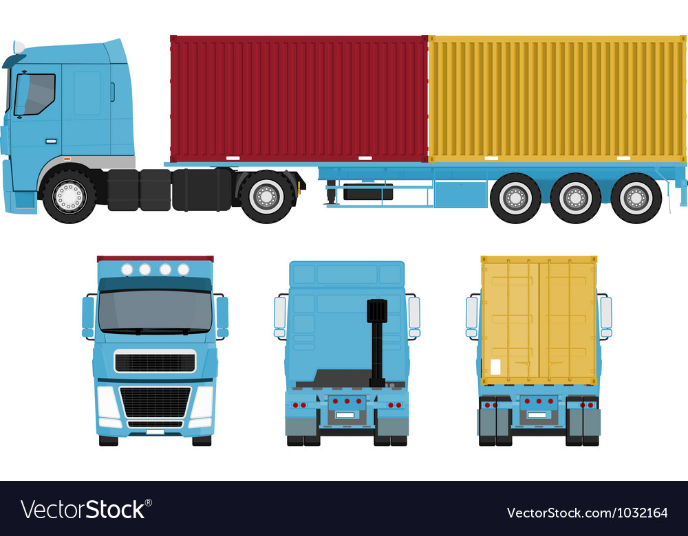 Container truck set vector | Price: 1 Credit (USD $1)
